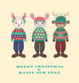 collection of cute animals in ugly christmas vector image vector image
