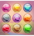 Colorful glossy bubbles with magic stones inside vector image