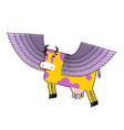 Cow with purple wings Flying animal Fanta vector image