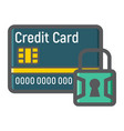 credit card with padlock colorful line icon vector image vector image