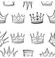 crown hand draw sketch pattern vector image vector image