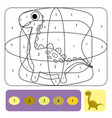 cute dino coloring page for kids coloring puzzle vector image vector image