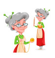 cute smiling old woman happy grandparents day vector image vector image