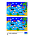 find 9 differences sea bay pirate and boats vector image vector image
