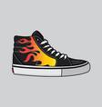 fire motif sneakers design vector image vector image