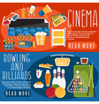 flat design horizontal banners with cinemabowling vector image vector image