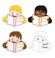 Girl Read Good Book vector image vector image