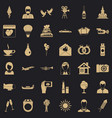 great wedding icons set simple style vector image vector image