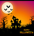 halloween haunted castle with bats and trees in gr vector image vector image
