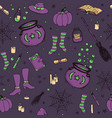 halloween pattern with pumpkin witch hat broom vector image vector image
