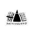 hand drawn symbols of switzerland travel swiss vector image