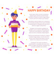 happy birthday poster party celebration man hat vector image vector image