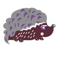 hedgehog isolated cartoon flat for print vector image