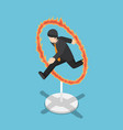 isometric businessman jumping through fire hoop vector image