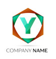 letter y symbol in the colorful hexagonal vector image vector image