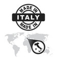 made in italy stamp world map with zoom on vector image