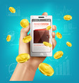 mobile banking wallet background vector image vector image