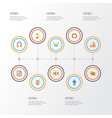 multimedia icons flat style set with earpiece vector image