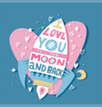 paper greeting card with colorful love rocket and vector image vector image