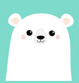 polar white bear cub face merry christmas happy vector image vector image