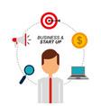portrait businessman laptop money megaphone target vector image