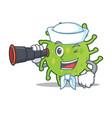sailor with binocular green bacteria mascot vector image vector image