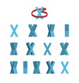 sheet of sprites rotation of cartoon 3d letter x vector image vector image