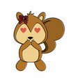 squirrel with heart eyes cute animal cartoon icon vector image vector image