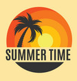 summer time background icon with palm tree vector image vector image