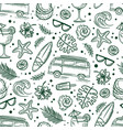 Surf green sea travel seamless pattern
