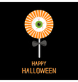 Sweet candy lollipop with green eyeball Black bow vector image vector image