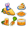 the set of items on the topic of carrots isolated vector image vector image