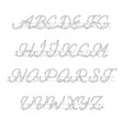 white neon uppercase script font vector image vector image