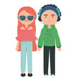 young couple with sunglasses and headset urban vector image