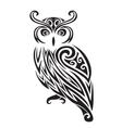 Decorative ornamental owl silhouette vector image