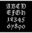Ghotic numbers and letters vector image
