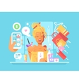 Young woman shopping online vector image