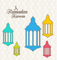 arabic card for ramadan kareem with colorful lamps vector image