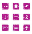 air service icons set grunge style vector image vector image