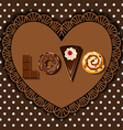 bake goods and dessert in word of love shape vector image