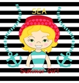 Beautiful blond girl with sea vector image vector image
