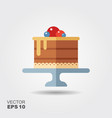 cake on stand flat icon with shadow vector image