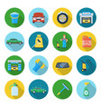 car cleaning icons vector image