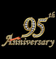 celebrating 95th anniversary golden sign vector image