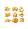 cheese icon set vector image vector image