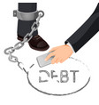 closeup of businessman in metal handcuffs on leg vector image vector image