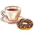 coffee and donut bakery dessert and java vector image vector image