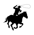 Cowboy silhouette black vector image vector image