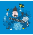 Creative pattern with swedish symbols vector image vector image