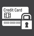 credit card with padlock solid icon protection vector image vector image